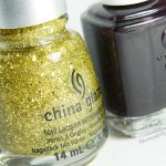 "Christmas mani: Essie ""Luxedo"" & China Glaze ""Blonde Bombshell"""