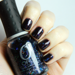 "Orly ""Sunglasses at night"" (Flash Glam) over OPI ""Black cherry chutney"""